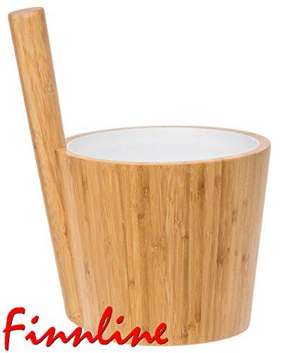 Preisvergleich Produktbild Weigand Bambus Saunakübel mit weißem Kunststoffeinsatz I TOP QUALITÄT I TOP ANGEBOT I Saunaeimer I Kübel I Eimer I Saunazubehör I Einsatz weiß