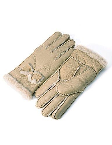 Preisvergleich Produktbild YISEVEN Damen Shearling Winterhandschuhe mit Warm Gefüttert Winter Lammfell Leder Autofahrer Handschuhe