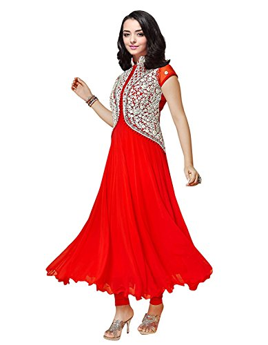 Clickedia Women's Georgette Women and Girls Koti style Anarkali Suit Orange Free Size  available at amazon for Rs.329