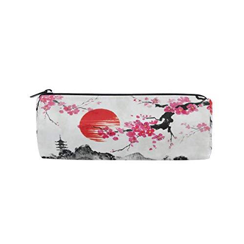 Alarge Federmäppchen mit Reißverschluss, Vintage, japanische traditionelle Sakura Rolle Stiftehalter, Make-up-Tasche für Schule, Kinder, Jungen und Mädchen (Oder Mädchen Chinesisch Japanisch)