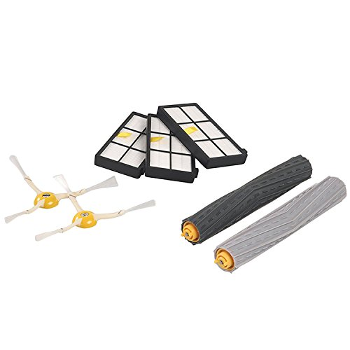 Gosear Extracteurs de Débris + Filtres + Brosses Latérales Kit de Remplacement Pièces Réglées pour iRobot Roomba 800 900 Series Aspirateur Robots 870 880 960 980