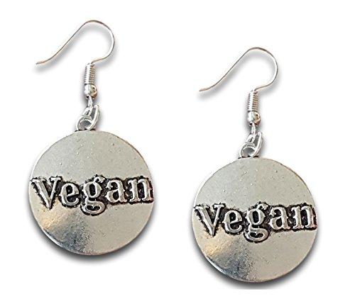 Vegan Pride Silber rund Kreis Disc Baumeln Ohrringe, durch Farralone... (Gold Disc Baumeln Ohrringe)