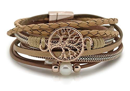Lebensbaum Armband Damen Wickelarmband mit Perlen  - Armkette mit Magnetverschluss Rosegold ...