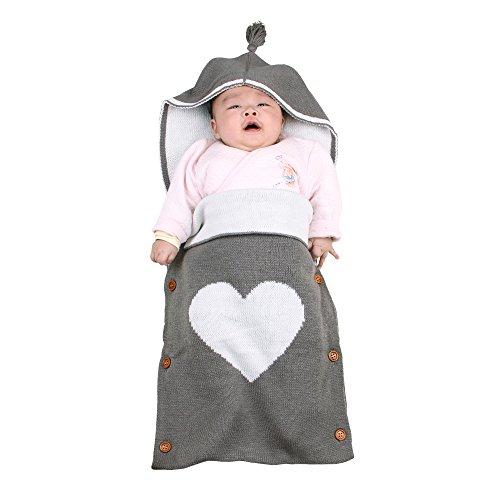 Neugeborenes Baby Gestrickt Wickeln Swaddle Decke,Schlafsack Neugeboren für Babygeschenke,Gozing Baby Wickeln Unisex für 0-12 Monate Jungen oder Mädchen(Grau)