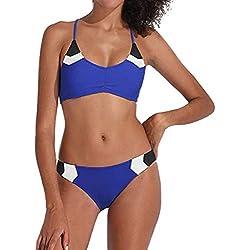 KPILP Femme Sexy Bikini Maillots de Bain 2 Pièces - Printemps et été La Mode Les Loisirs Couleur Unie Confortable Coupe Slim Milieu Waist Maillots Deux Pièces S-2XL(Bleu,FR-38/CN-L)
