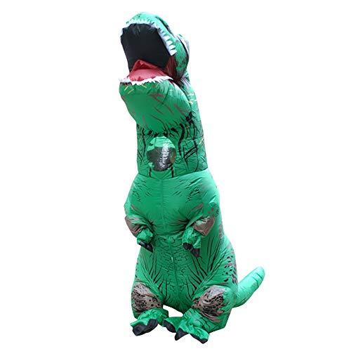 Sunnywill Gonfiabile Dinosauro Costume Velociraptor Costumi di Halloween Christmas Dinosauro Costumi per Adulti (Verde)