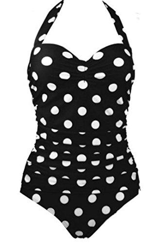 YARBAR Ein Stück Bikini mit Dot Print und Hutmacher für Damen Schwarz