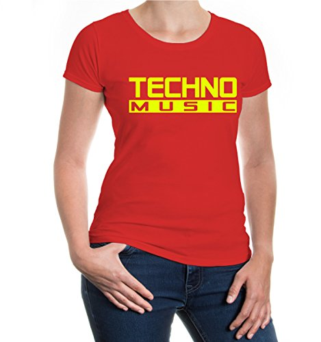 buXsbaum® Girlie T-Shirt Techno Music Red-Neonyellow