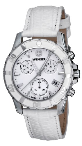 Wenger Women's 70741 Sport Chrono White Dial White Leather Watch