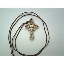 ST San Benito Crucifijo de madera de olivo Cruz Plata Metal Insertar