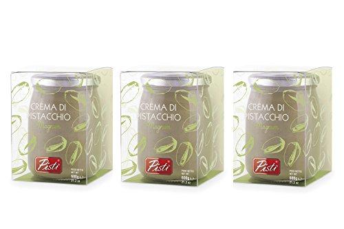 3 vasi di crema spalmabile di pistacchio preparata con il 45% di pistacchi di sicilia e olio d'oliva extravergine 3 x 600 g