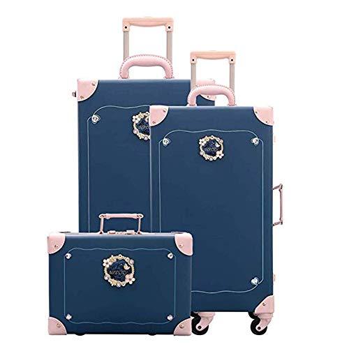 Tronco Set di valigie vintage in PU 3 pezzi (12'+20' +26') Guscio rigido Valigia leggera e resistente Resistente agli urti 4 ruote rotanti Doppio lucchetto Adatto for Travel Academy