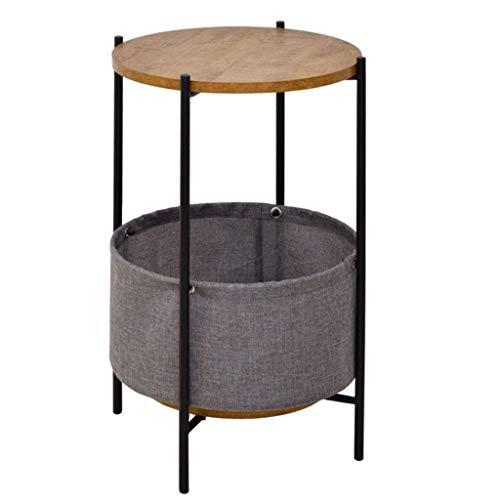 Moderner Runder Schrank (Yxsd Beistelltische, Tische Runder Beistelltisch Mit Ablagekorb, Moderner Rustikaler Nachttisch Für Schlafzimmer Espresso Nachttisch (Color : Gray))