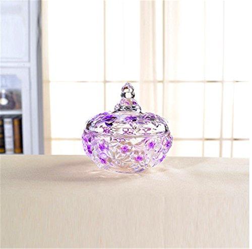 Gentleman Kristallglas Süßigkeiten Dosen Pflaumen Blüten Zucker Dosen (紫)