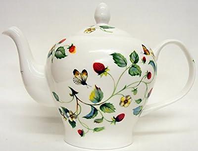 Fraises et papillons Théière Grande capacité Théière en porcelaine anglaise (6tasses) décorée à la main au Royaume-Uni