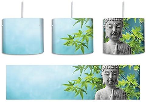 Buddha auf Steinen mit Monoi Blüte in der Hand inkl. Lampenfassung E27, Lampe mit Motivdruck, tolle Deckenlampe, Hängelampe, Pendelleuchte - Durchmesser 30cm - Dekoration mit Licht ideal für Wohnzimmer, Kinderzimmer, Schlafzimmer
