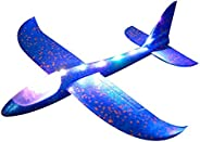 Domybestshop Domybest Throwing Foam Airplane For Kids, Hand Launch Glider Plane Inertia Aircraft Led Light Air