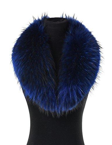 Ferand - Col Écharpe Chaude en Vrai Fourrure de Raton-laveur, Amovible et Doublé, Parfait pour Votre Manteau Veste Parka en Hiver - Femme - Bleu royal - Longueur de doublure: 100cm