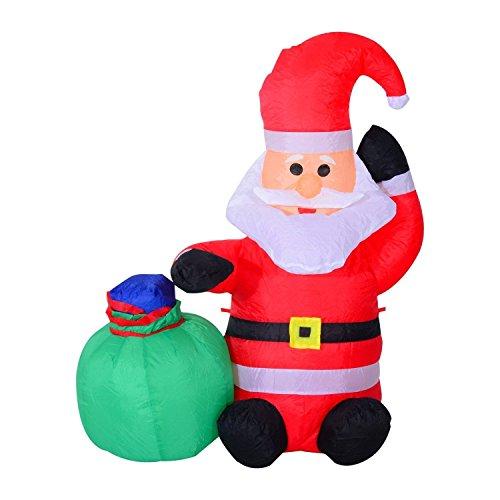 HOMCOM LED Figur Motiv Weihnachten Weihnachtsmann Schneemann aufblasbar Weihnachtsdeko beleuchtet Garten, L 45 x B 45 x H 120 cm, IP 44, warm weiß