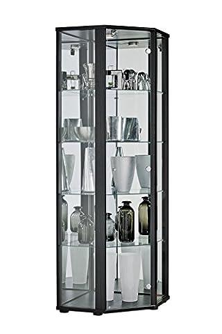 Led Retail verrouillable d'angle en verre vitrines lumière LED et antivol
