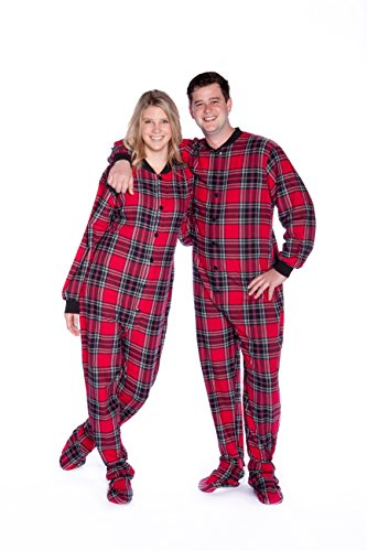 BIG Feet Karierte Baumwolle Flanell Adult Footed Pajamas w/Drop-Seat Mittel Rot -
