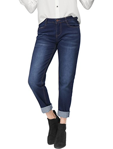 Allegra K Damen Reißschluss Fliegen Knopf Verschluss Taschen Boyfriend Jeans L (EU 44) (Frauen-hosen Aufstieg)