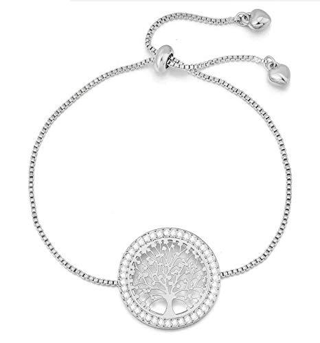 Treend24 - Pulsera de plata con circonitas para mujer, estilo bohemio, vintage, con colgante de árbol de la vida, árbol de la vida