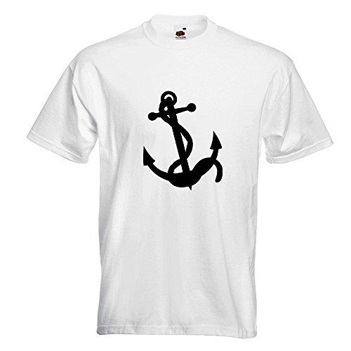KIWISTAR - Anker Motiv3 T-Shirt in 15 verschiedenen Farben - Herren Funshirt bedruckt Design Sprüche Spruch Motive Oberteil Baumwolle Print Größe S M L XL XXL Weiß