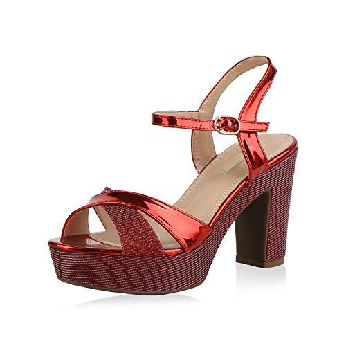 SCARPE VITA Damen Plateau Sandaletten Glitzer High Heels Metallic Party Schuhe 173352 Rot 39 (Rote Glitzer High Heels)