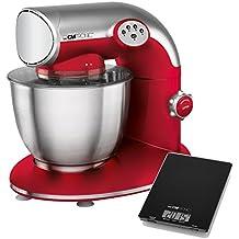 Clatronic KM 3632 - Batidora amasadora, 5.6 l, 5 velocidades, 1200 W + báscula de cocina, color roja