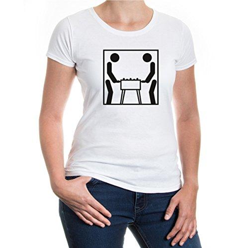 buXsbaum® Girlie T-Shirt Tischfussball-Piktogramm White-Black