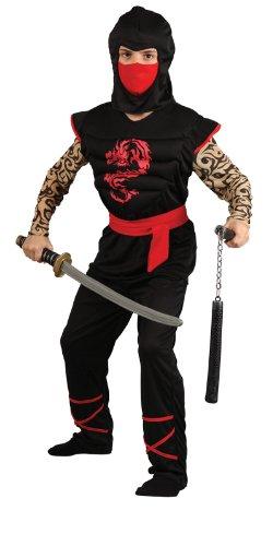 Imagen de wicked  disfraz de guerrero ninja para niño, pechera con músculos, talla m, 122 134 cm alternativa
