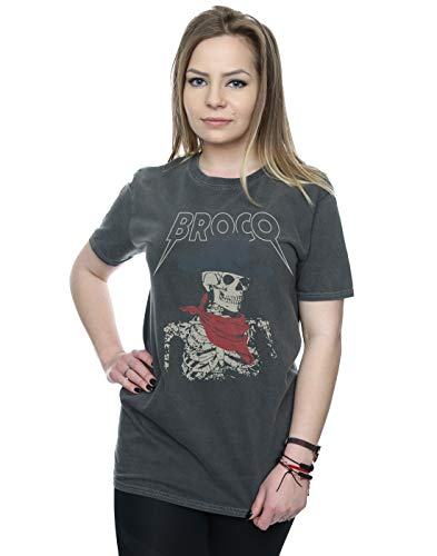 Don Broco Damen Skeleton Cowboy Gewaschen Boyfriend Fit T-Shirt Holzkohle Large - Cowboys Holzkohle
