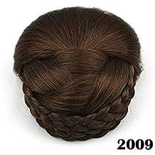 1 peluca postiza, con moño y trenzas, 6 colores