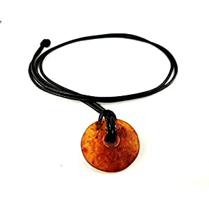 AmberConnections Naturbernstein Donut Anhänger mit schwarzem Kordband