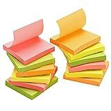 TOROTON Super Sticky Rainbow Notes 75 x 75 mm, Super Collant Bloc-Notes Mix Néon Couleurs, 4 Couleurs Collection, 100 Feuilles, 12 Pads par Paquet
