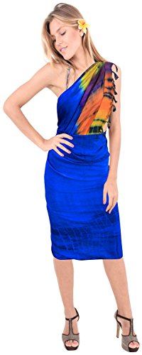 La Leela Rayon Farbstoff Bikini Krawatte verschleiern Wickelrock Badebekleidung Sarong Kleid Pareo Strandkleid mehrfarbig Blau