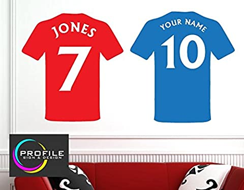 PERSONALISED FOOTBALL SHIRT WITH NAME AND NUMBER WALL ART STICKER DECAL SIZE APPROX 480 X 510 MM MADE BY PROFILE SIGN by PROFILESIGNS.CO