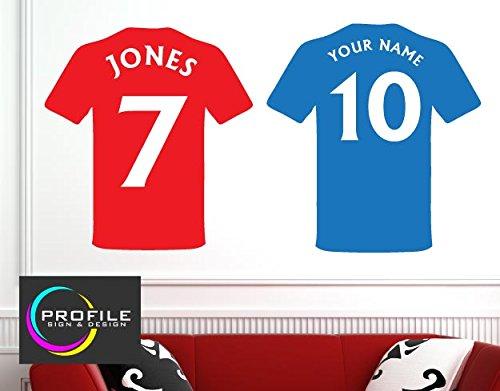 Profilesigns.Co - Adesivo da parete, motivo: maglia da calcio personalizzata con nome e numero, dimensioni: circa 48 cm x 51 mm
