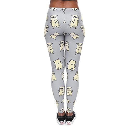 HDYS Donna Leggings Stampa Del Giorno Cartoon Slim Nove Punti Pantaloni lga40576