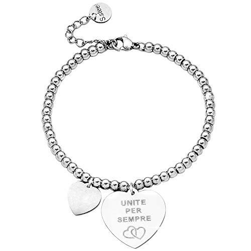 Beloved  Bracciale da donna, braccialetto in acciaio emozionale - frasi, pensieri, parole con charms - ciondolo pendente - misura regolabile - incisione - argento (MOD 22)