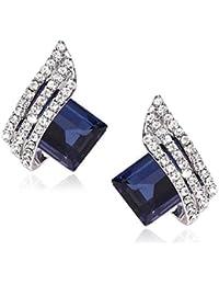 0acffda7b ZIVOM® Three Stone Wave Aaa Crystal American Diamond Blue Rhodium Plated  Brass Stud Earring Girls