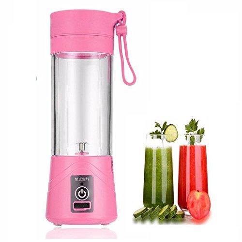 Für Obst Mixer Und Gemüse (VelidyMini Standmixer Blender , 400 ml USB Wiederaufladbare Entsafter Flasche Tasse Saft Citrus Mixer Zitrone gemüse obst Milchshake Smoothie Orangenpressen Reibahlen Flasche (Rosa))