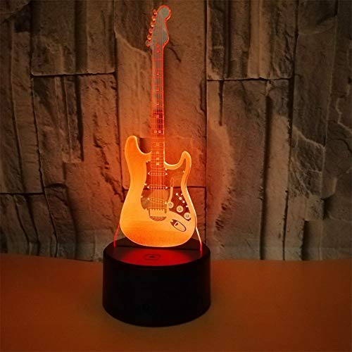 3D Lámpara Óptico Illusions Luz Nocturna, LED Lámpara De Mesa Luces De Noche Para Niños Decoración Tabla Lámpara De Escritorio 7 Colores Cambio De Botón Táctil Y Cable USB, Guitarra Electrica