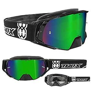 TWO-X Rocket Crossbrille schwarz Glas verspiegelt grün MX Brille Nasenschutz Motocross Enduro Spiegelglas Motorradbrille Anti Scratch MX Schutzbrille Nose Guard