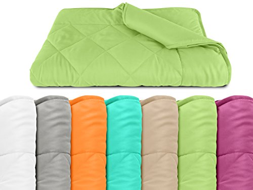 npluseins Sommerdecke - Picknickdecke - Leichtbettdecke - in 2 Größen und in 7 modernen Farben, ca. 135 x 200 cm, apfel
