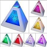 7 LED Farb Pyramide von eyeCam Uhr mit digitalen LCD Display, Kalender, Wecker, Thermometer , Alarm Funktion, sehr stylisch Eröffnungsangebot (29)