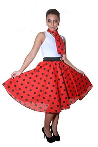 Glossy Look - Jupe - Femme noir noir Red Black Polka Dot (26 Inches)