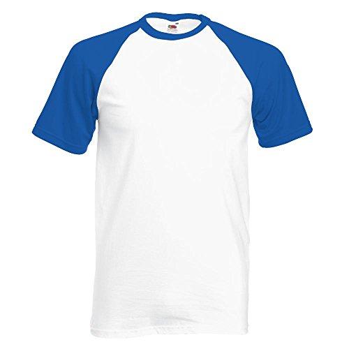 Fruit of the Loom - Kontrast T-Shirt 'Baseball T' White/Royal