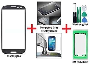 iTech Germany Affichage kit de réparation de verre pour Samsung Galaxy S3 Noir + Protecteur de Verre Trempé Gorilla Glass - Avant écran tactile pour i9300 i9301 i9305 NEO LTE + 3M Adhésif et Outils